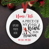 A Piece Of My Heart Is In Heaven - Personalized Ceramic Christmas Ornaments