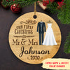 1st Christmas as Mr & Mrs, Wedding outfits - Personalized Ceramic Christmas Ornaments