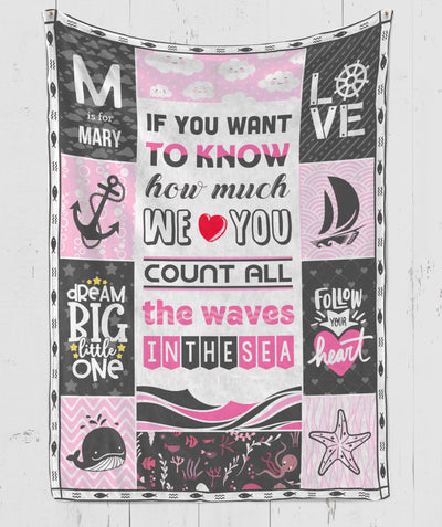 Count All The Waves In The Sea - Personalized Custom Fleece Blanket - Gifts For Baby Girl