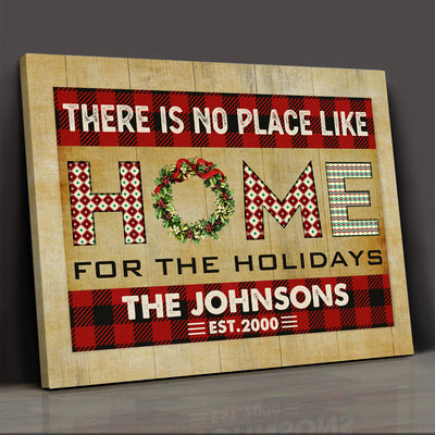There Is No Place Like Home - Personalized Custom Canvas - Christmas Decorations