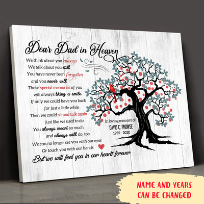 Dear Dad In Heaven - Personalized Custom Canvas - Memorial Canvas For Loss Of Dad