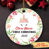 Baby 1st Christmas 2020, Unicorn - Personalized Ceramic Christmas Ornaments