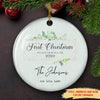 First Christmas In Our New Home - Personalized Custom Ceramic Circle Ornament - Ornaments With Love