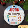 Baby's First Christmas - Personalized Custom Ceramic Circle Ornament - Baby Ornament
