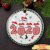 Santa Hat Family 2020 - Personalized Ceramic Circle Christmas Ornaments