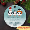 First Christmas As A Family Of Three - Personalized Ceramic Christmas Ornaments
