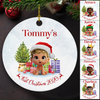 Baby's First Christmas 1 - Personalized Custom Circle Ceramic Ornament