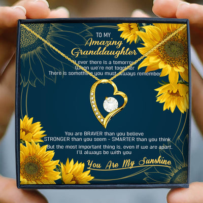 GRANDDAUGHTER - YOU ARE MY SUNSHINE - 18K YELLOW GOLD FOREVER LOVE NECKLACE