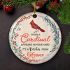 Visitor From Heaven - Ceramic Circle Ornament - Memorial Cardinal Ornaments
