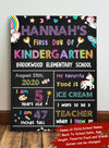 Personalized Custom Canvas - First Day Of Kindergarten - Gift for Daughter, Gift for Granddaughter, Back to School Gift