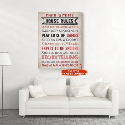 Personalized custom canvas - Grandparents' house rules - Gifts for grandparents - Home decor, Wall art