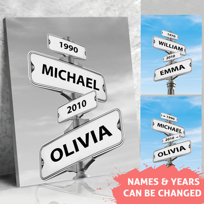 Intersection of Love - Personalized Custom Multi-names Canvas - Home Decorations