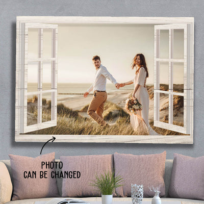 Window Frame - Personalized Custom Photo Canvas - Anniversary Gifts