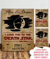 Personalized custom canvas - I love you to the death star and back - Gifts to husband, anniversary gifts - Home decor