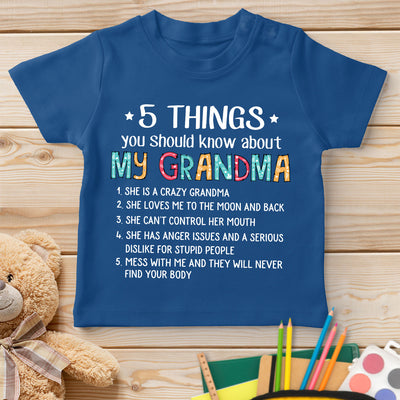 5 Things About Grandma - Standard Youth T-shirt - Gifts For Granddaughter, Gifts For Grandson