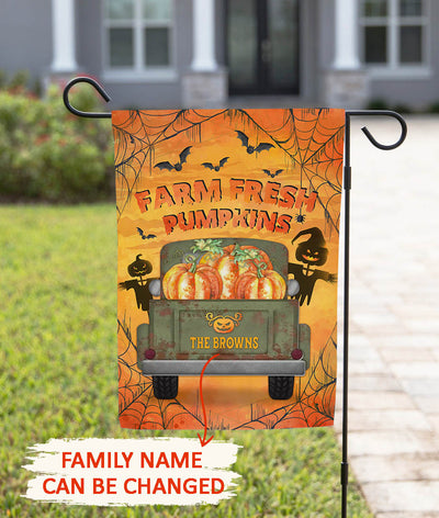 Farm Fresh Pumpkin - Personalized Custom Garden Flag - Halloween Garden Flag
