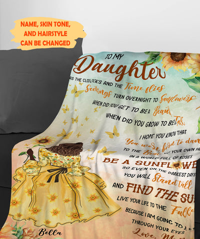 Be A Sunflower - To My Daughter Fleece Blanket - Sentimental Gifts For Daughter - 1002