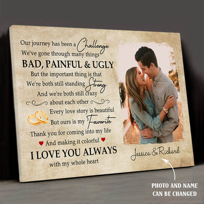 Our Story Is My Favorite - Personalized Custom Photo Canvas - Gifts For Couples