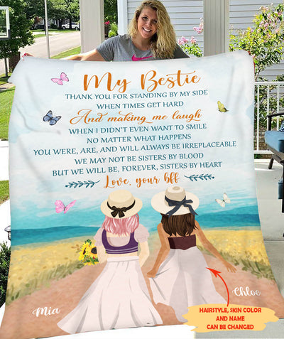 My Bestie - Personalized Custom Fleece Blanket - Christmas Gifts