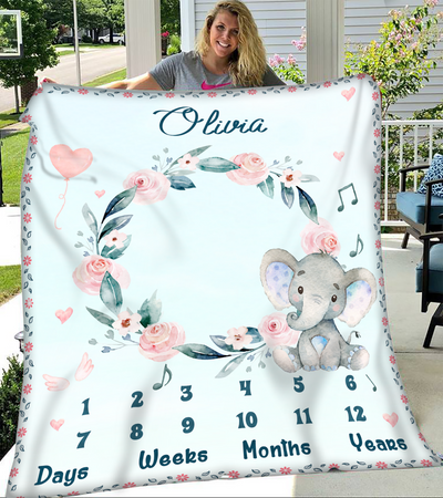 Personalized custom blanket - Milestone blanket - Gifts for baby - Gifts for mom - Newborn photo props shoots backdrop