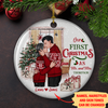 Mr. And Mrs. - Personalized Circle Ceramic Ornament - Couple Gift