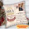 Merry Christmas - Personalized Custom Photo Linen Pillow