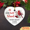 In Our Heart Forever - Personalized Ceramic Christmas Ornaments, Cardinal Memorial Ornaments