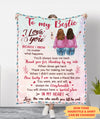I love you, my bestie - Personalized Custom Fleece Blanket - Friendship gifts