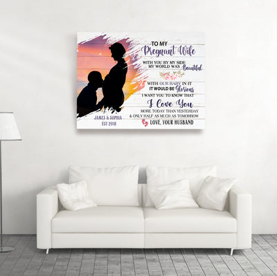 I Love You – Personalized Custom Canvas - Sentimental Gifts For Pregnant Wife