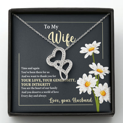 The Heart Of Our Family - Double Heart Necklace - Gifts For Wife From Husband