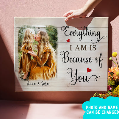 Everything I Am Is Because Of You - Personalized Custom Matte Canvas