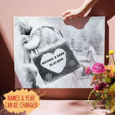 Personalized Custom Names Canvas - Love  Lock - Anniversary Gifts