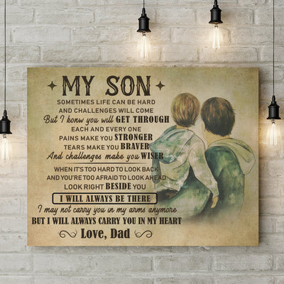 Matte Canvas - My Son - I Will Always Be There - Gift From Dad To Sun - 5482