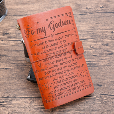 TO MY GODSON - NEVER FORGET HOW MUCH I LOVE YOU - VINTAGE JOURNAL