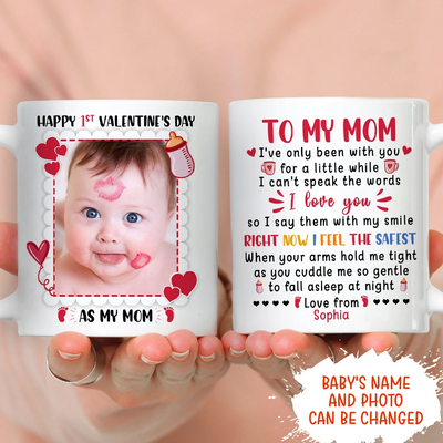 First Valentine As Mom - Personalized Custom Photo Coffee Mug - Valentine's Day Gifts For New Mom