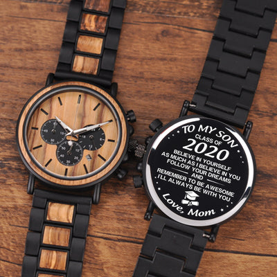 WOOD WATCH - BELIEVE IN YOURSELF - GIFTS FOR SON, GRADUATION GIFTS, BIRTHDAY GIFTS - 6618