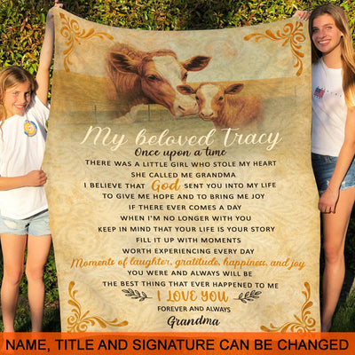 Grandma Granddaughter - Once upon a time - Fleece Blanket, Gifts for Granddaughter from Grandma