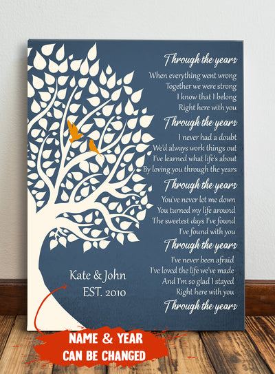 Through the Years - Personalized Custom Canvas - Wedding Anniversary Gifts