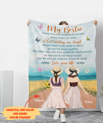 My Bestie - Personalized Custom Fleece Blanket - Best Friend Gifts
