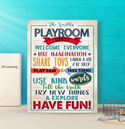 Playroom Rules - Personalized Custom Canvas - Home Decorations