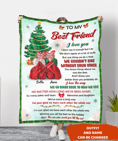 Christmas Bestie 2 - Personalized Custom Blanket - Christmas Gifts, BFF Gifts