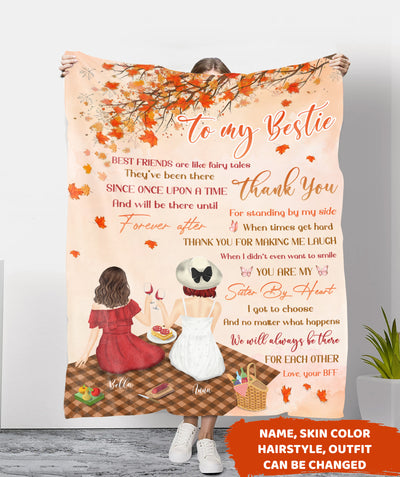 My Bestie Sister By Heart - Personalized Custom Fleece Blanket - Gifts For Best Friends