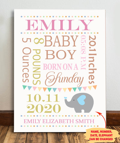 Birth Stats - Personalized Custom Canvas - Family Gifts