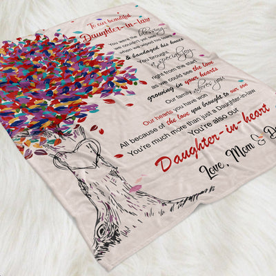 To Our Beautiful Daughter-in-heart - Fleece Blanket - Gifts For Daughter-in-law