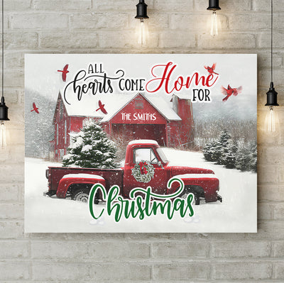 All Hearts Come Home For Christmas - Personalized Custom Canvas - Memorial Wall Art