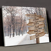 Multi-names Winter Road - Personalized Custom Canvas - Family Gift