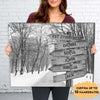 Multi-names Black&White Winter Road - Personalized Custom Canvas - Family Gift