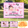 Peace Love Baby - Personalized Custom Baby Shower Yard Sign - Baby Girl Yard Sign