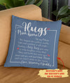 Hugs From Home - Personalized Custom Linen Pillow - Family Pillow