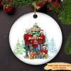 Happy Family Wrapped Up - Personalized Custom Ceramic Christmas Ornament - Ornament With Love